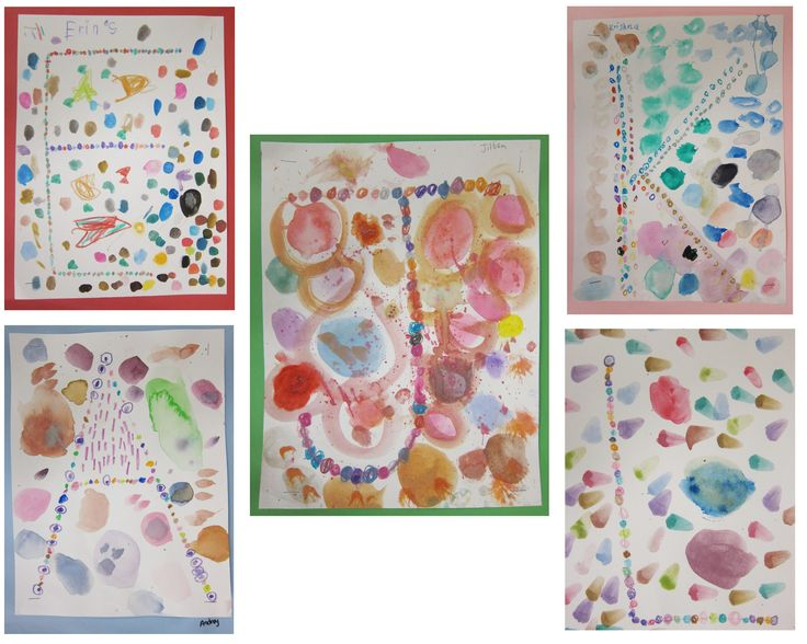 Painted Initials by Kindergarteners