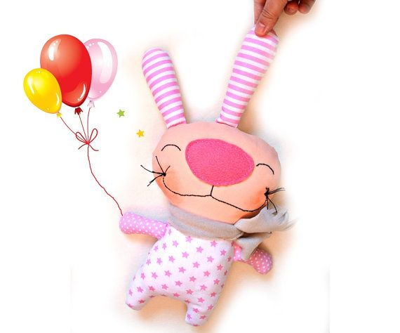 Personalized Stuffed Bunny Toddler Toy by Fairybugcreativetoys