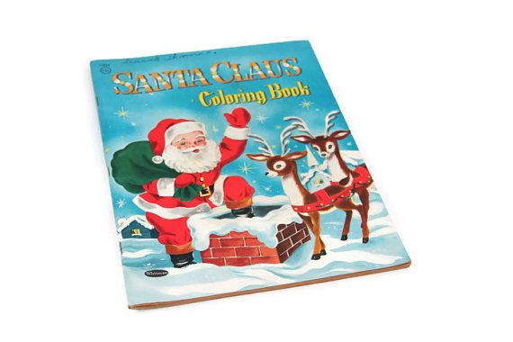 Santa Claus Coloring Book 1953 Whitman Vintage Christmas
