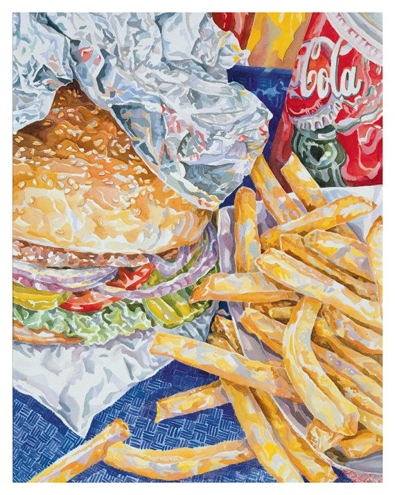 Big Burger And Fries 8 x 10 Fine Art Archival by artonthemenu, $18.00