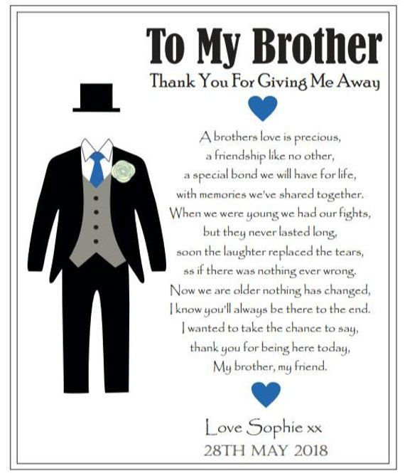 To The Brother Of The Bride On My Wedding Day Thank You For Giving Me Away Personalised Ke Sister Wedding Gift Brother Wedding Gifts Wedding Gifts For Bride