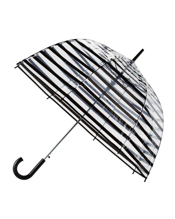 ShedRain Striped Auto Open Bubble Umbrella, Black