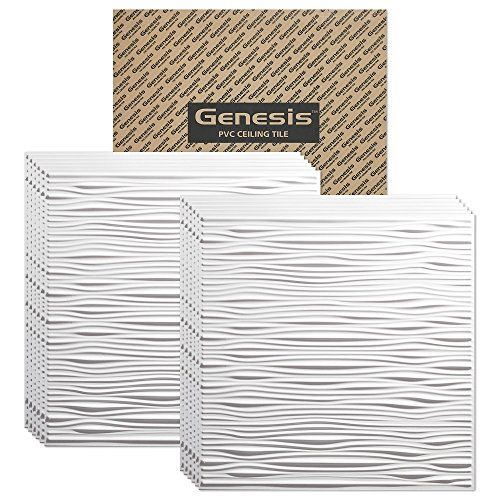 Genesis  Drifts White 2x2 Ceiling Tiles 3 mm thick carton of 12  These 2x2 Drop Ceiling Tiles are Water Proof and Wont Break  Fast and Easy Installation and a Great Alternative to Acoustical Ceiling Tiles  25 Year Warranty 2 x 2 Tile * You can get additional details at the image link.