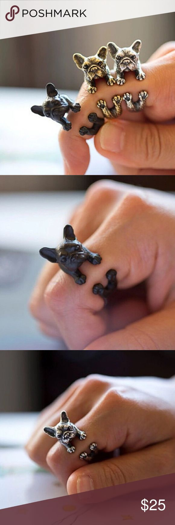 Set of 3 French Bulldog Rings French bull dog ring set.   You will receive: 1 black, 1 silver and 1 Gold (All 3 Pictured)  Same Day Shipping!! Jewelry Rings