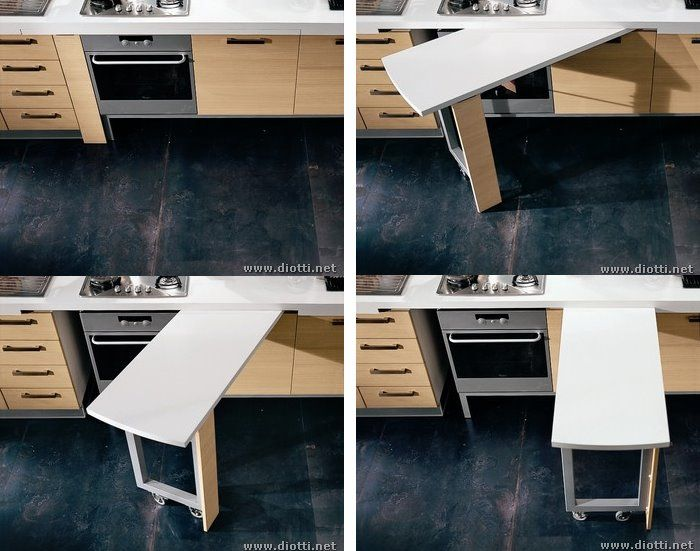 great kitchen design.  love the table that folds into the counter
