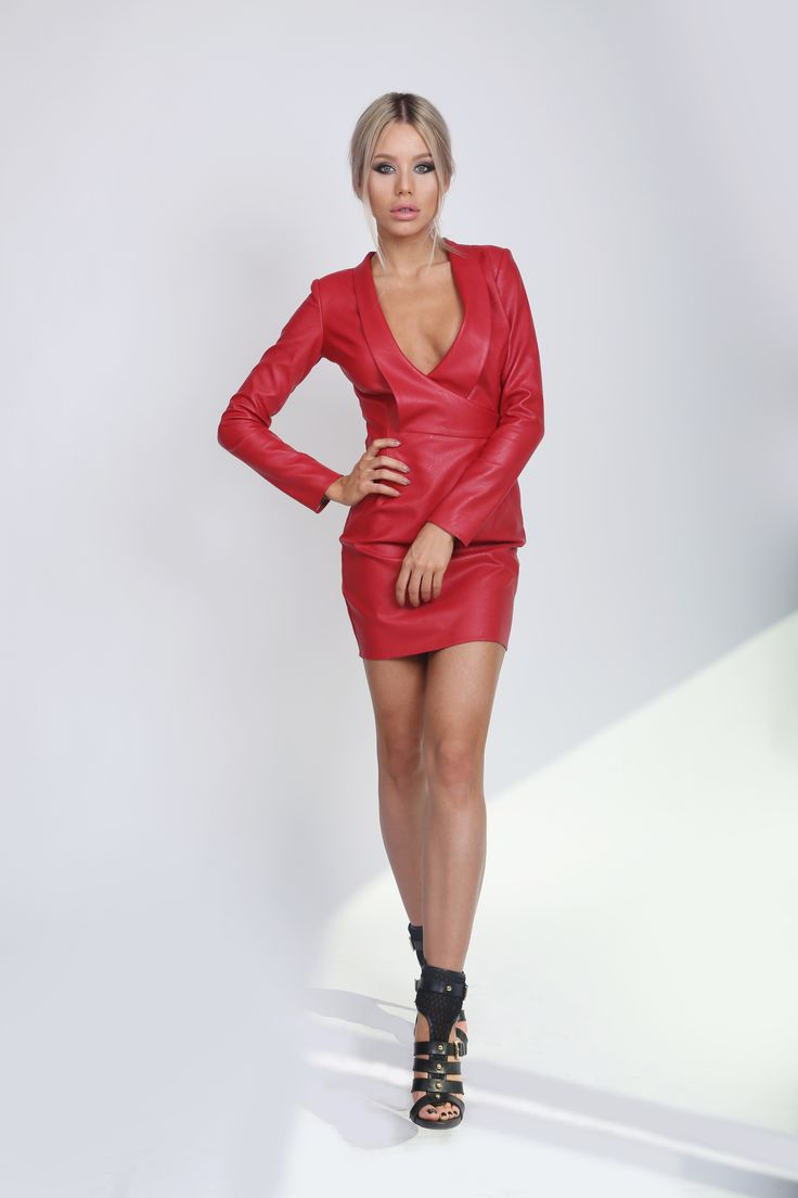 Red Leather Dress! Eco Leather Dress!