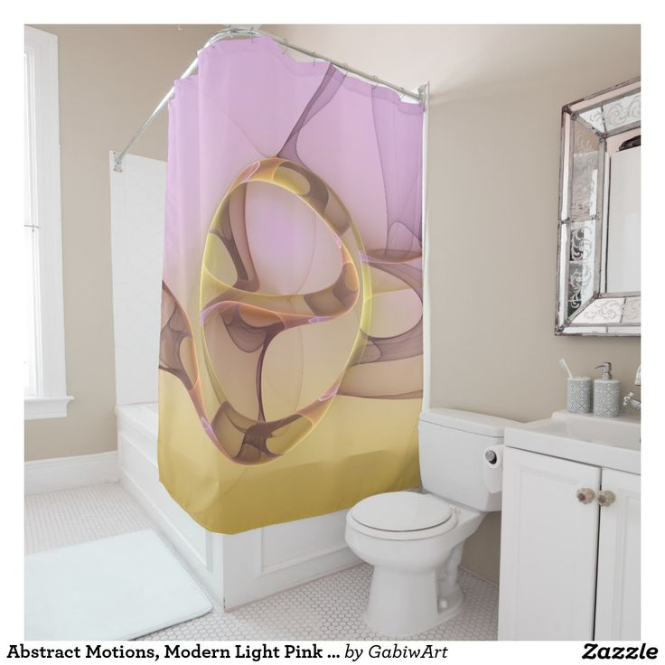 Abstract Motions, Modern Light Pink Yellow Fractal Shower Curtain