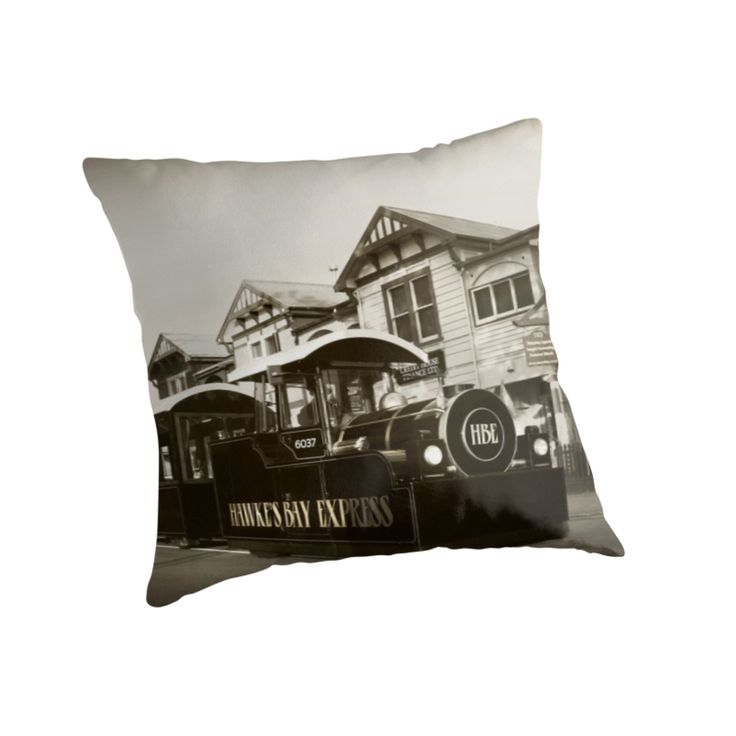 Iconic Hawke's Bay Express in front of Napier's 6 Sisters by SeeOneSoul ... as throw pillow ... cool? :)