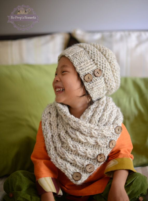 Toddler Slouchy Beehive Hat and Cocount Button Cabled Neckwarmer Set YOUR COLOR CHOICE, Knitted Toddler Hat, Kids Knit Cowl Scarf, Beanie by BoPeepsBonnets, $64.00
