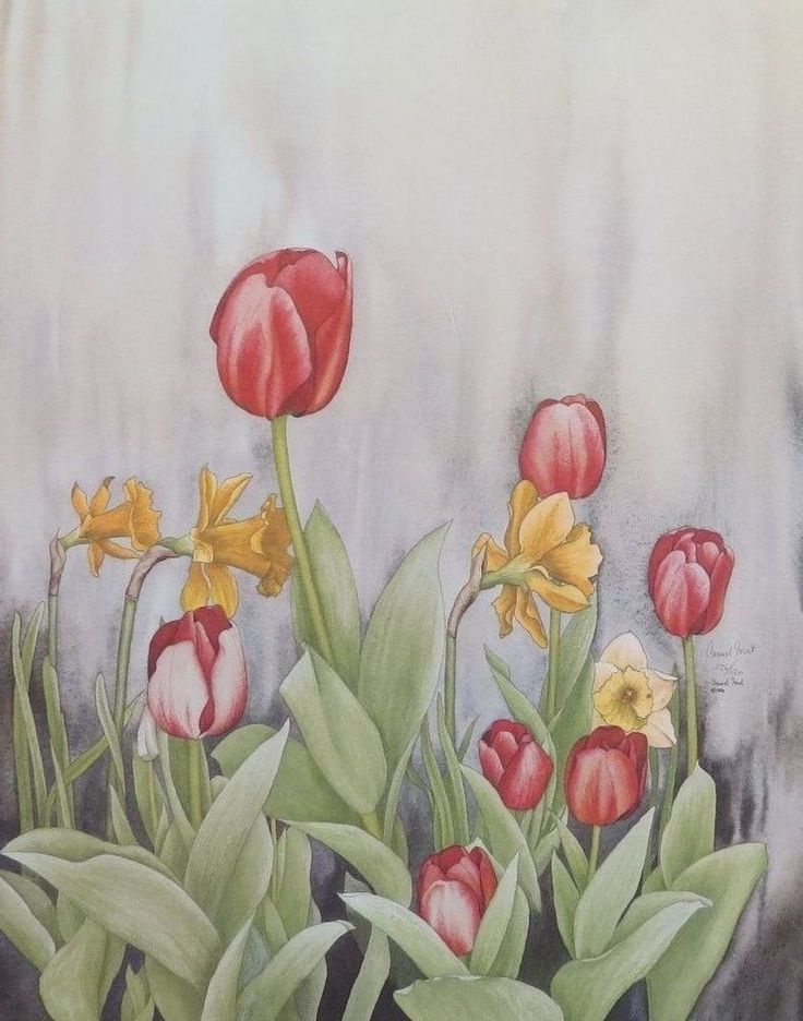 RED TULIPS AND DAFFODILS BY CARMEL FORET