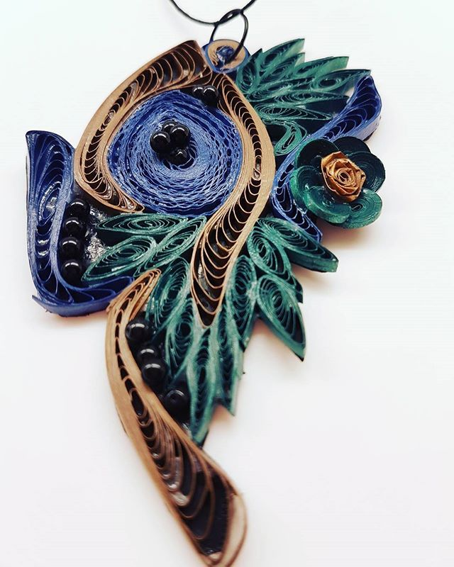 Quillion Jewelry  by the Quilling Artist Jenny Treeg  #quillingart #artist #quilling #art #madebyme #handmade #by #jennytreeg #necklaces #necklace #paper #strips #beads #jewelry #green #emerald #bronze #and #blue #raf #flowers #2017 #new #collection #abstract #design #greece