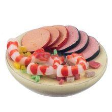 1:12 Meeresfrüchte Salat auf eine Platte Puppenhaus Miniatur Lebensmittel Zubehör(China (Mainland))