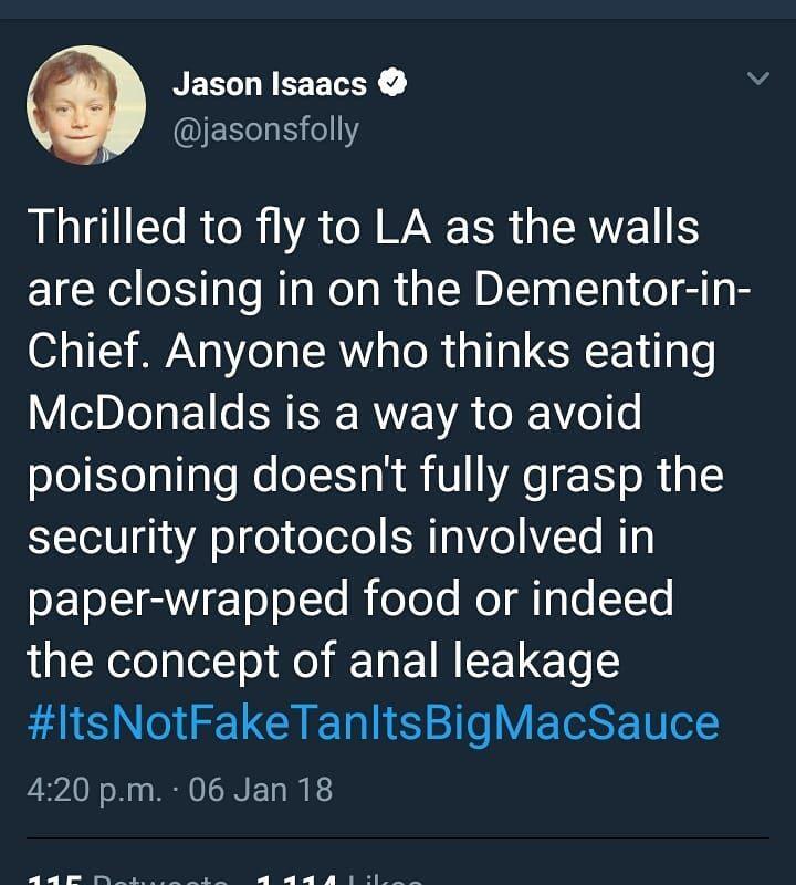 Jason ha postato un tweet...... Sta volando a los Angeles  Jason posted a tweet..... He fly at los angeles #jasonisaacs #twitter #post #losangeles
