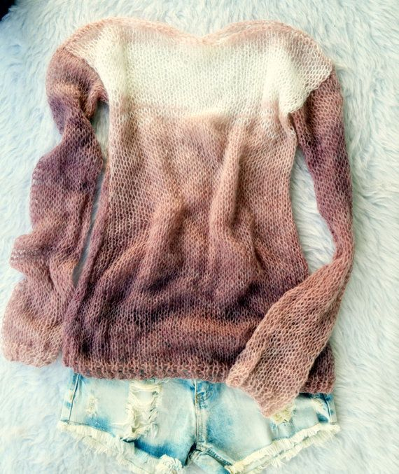 Pastel Purple Sweater, Knit Sweater, Boho Sweater, Hand Knit Sweater, Loose Fit Top, Grunge, Womens Sweater, Indian Red , Brown Sweater