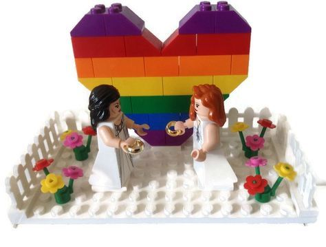 Gay Lesbian Wedding Cake Topper Lego Couple by HeartOfBricks