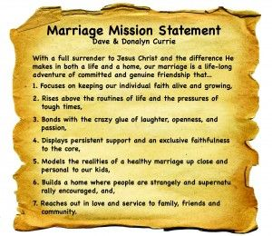 An example of a marriage mission statement.