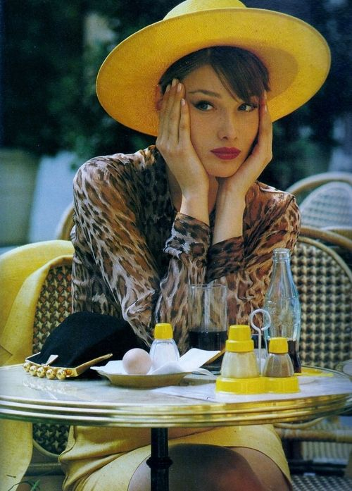 La Dame En Jaune from Elle France June 1989 feat Carla Bruni