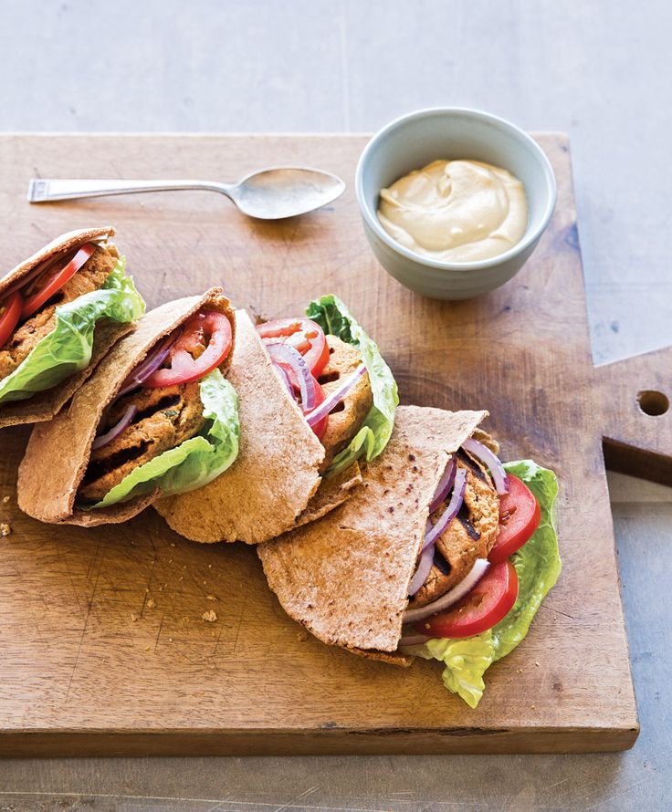 Falafel Burgers with Lemon-Tahini Sauce #recipe