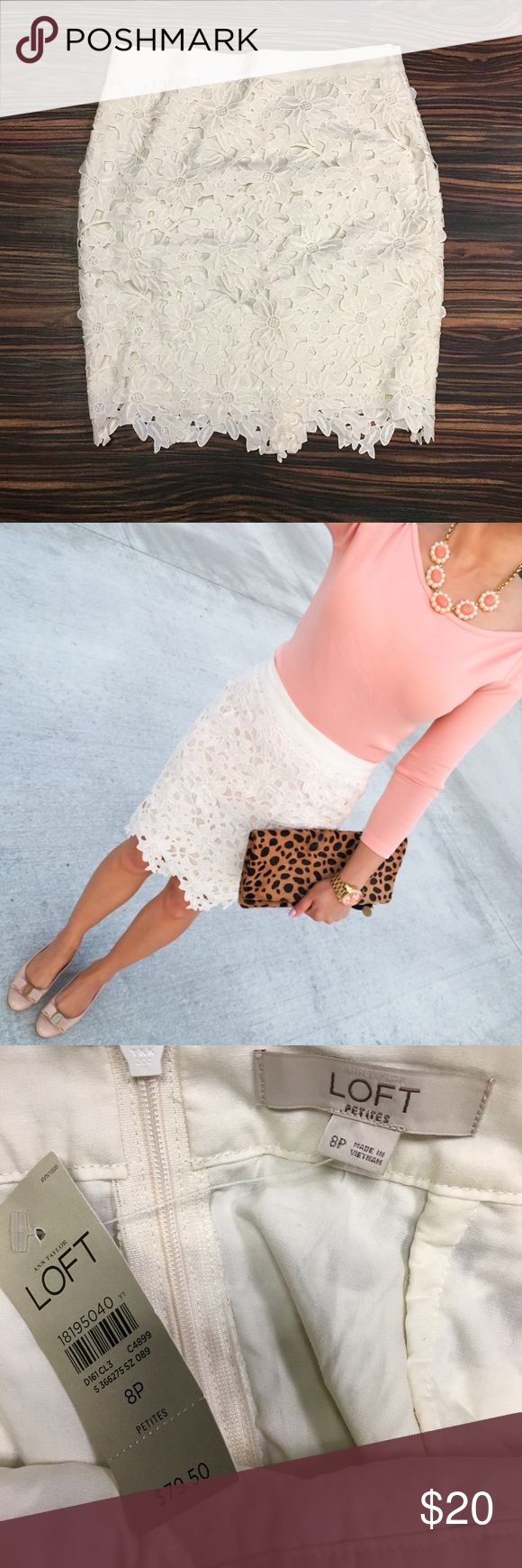 Loft cream lace mini skirt. Beautiful cream pace mini skirt. LOFT Skirts Mini