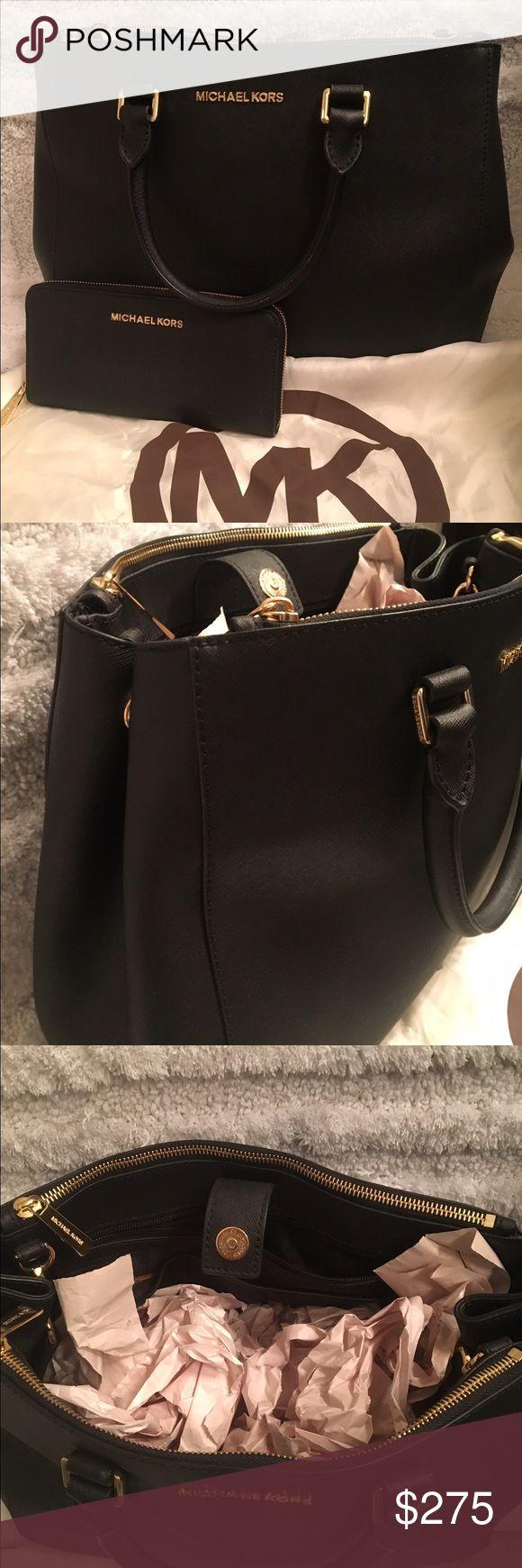 Michael Kors black purse and wallet Large gently used leather black Michael Kors purse and wallet Michael Kors Bags Totes
