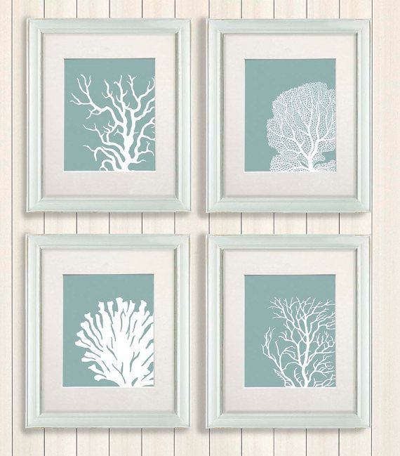 Set 4 Coral Prints Mist Blue/Green, Nautical print Poster Drawing Digital Print Wall Art Wall Décor Wall Hanging beach house bathroom poster