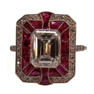 Diamond & Ruby Art Deco Ring. I might be obsessed with Art Deco right now.