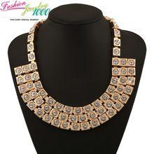 Золотой кристалл колье ожерелье мода большой коренастый заявление женщины ювелирные изделия(China (Mainland))