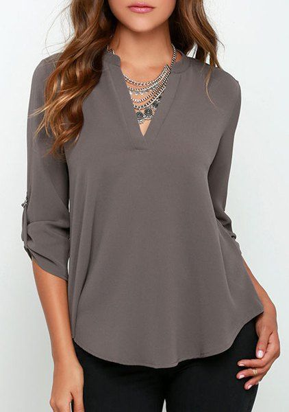 Pretty gray for a Deep. Concise Solid Color V-Neck 3/4 Sleeve Chiffon Blouse For Women