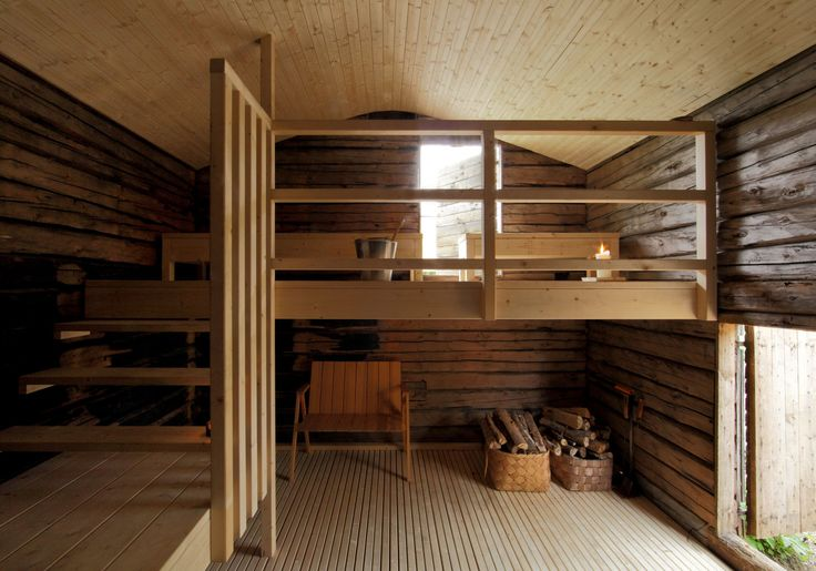 The sauna, designed by Anssi Lassila, is located on top of a rock outcropping that rises 200 meters above sea level. It is reachable by a corn eld path leading to a sheltered terrace. This kind of a journey has traditionally been part of the purificati...
