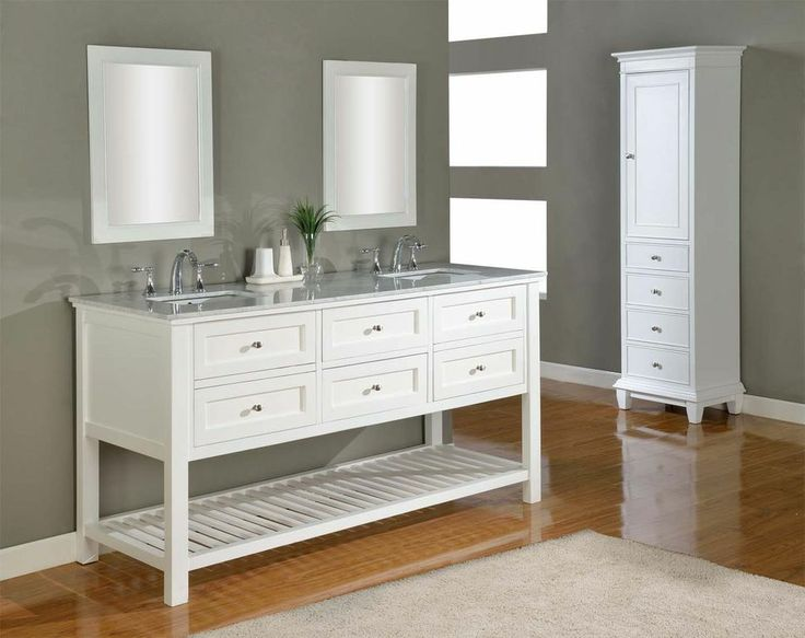 Picture Gallery Website J u J International Pearl White Mission Spa Double Vanity Sink Cabinet with Carrera White Marble Top Double white square porcelain sinks are surrounded by
