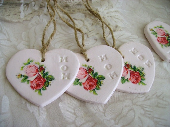 3 Shabby Cottage Pink  Mothers Day Clay Tags  Pink Roses too