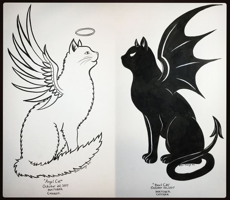 inktober days 19 20 angel devil cat 39 s missed day 19 due to an oncoming migraine so here 39 s. Black Bedroom Furniture Sets. Home Design Ideas
