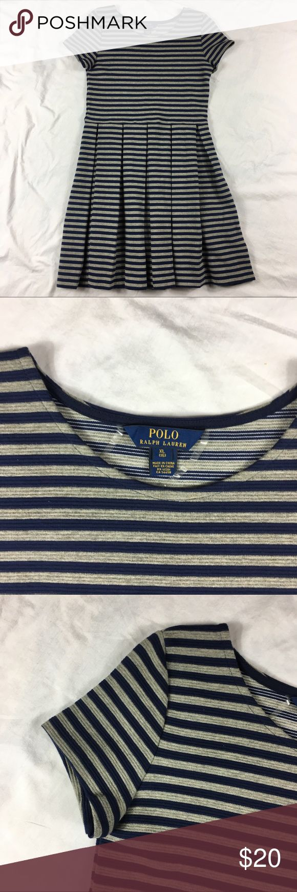 Polo Ralph Lauren short sleeve pleated dress Polo Ralph Lauren blue gray striped short sleeve pleated dress   Girl size: XL (16)   92% cotton, 7% polyester, 1% elastane   Machine washable   Approx measurements: armpit to armpit – 15 inches; length – 32 inches; sleeve- 5 1/2   Good used condition – see pictures Polo by Ralph Lauren Dresses Casual