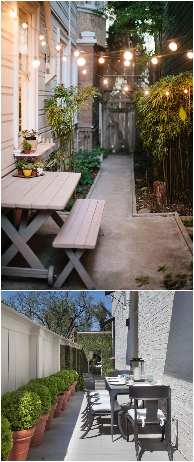 25 best narrow backyard ideas on pinterest small garden design small gardens and modern lawn - Garden landscape ideas for small spaces collection ...