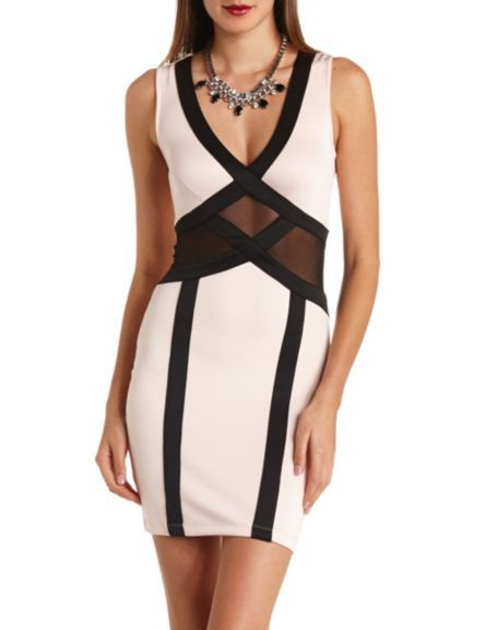 Mesh colorblock bodycon dress