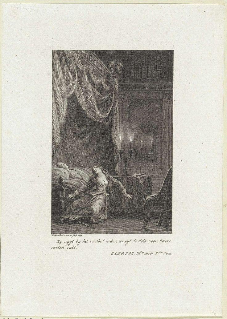Reinier Vinkeles | Jonge vrouw heeft zichzelf in de borst gestoken met een dolk, Reinier Vinkeles, 1778 | In een slaapkamer heeft een jonge vrouw zichzelf in de borst gestoken met een dolk. In het hemelbed, waarnaast ze ineen gezakt is, ligt een man.