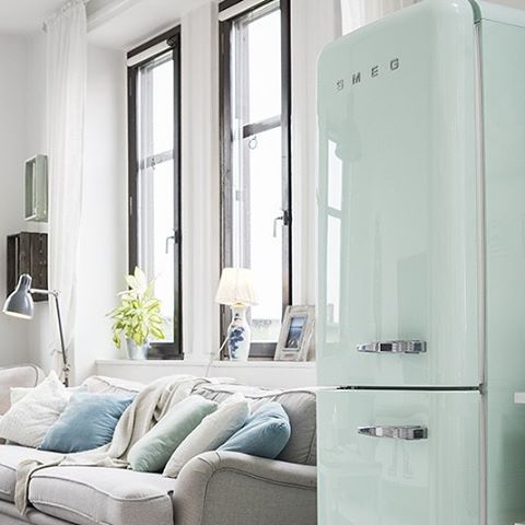 The refrigerator in the living room? Why not!  Frigorifero in salotto? Why not Repost: @planete-d'eco.fr #smeg50style #desiglovers #interiordesign #instamood #homesweethome #Homelovers #pastelcolors #pastelgreen #architect #homedecor #ispirational #kitchen #pastello #verde #livingroom