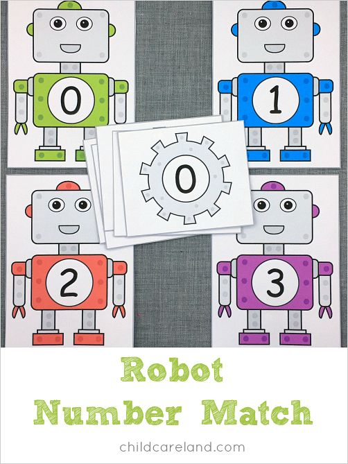 Robot number match for number recognition and fine motor. Children match the robots and the gears with the same numbers.