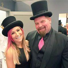 "WWE legend Jim ""The Anvil"" Neidhart and his daughter WWE Diva Natalya (Natalie Neidhart Wilson) representing the classic pink and black from the days of The Hart Foundation #WWE #WWEHOF #TotalDivas #wwefamilies #wwekids #hartdynasty"