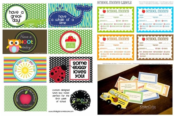 Back to School   FREE Lunchbox Note Printables