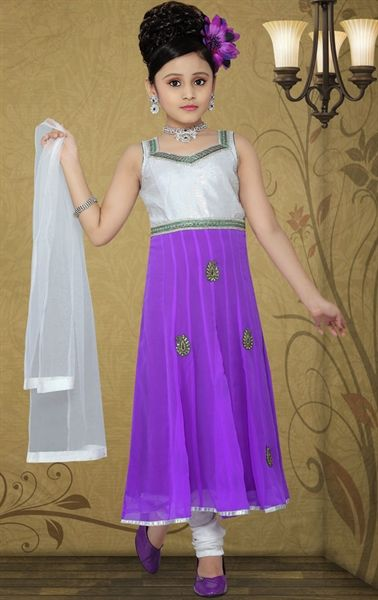 Picture of Charming Bluish Purple and Off White Color Kids Salwar Kameez