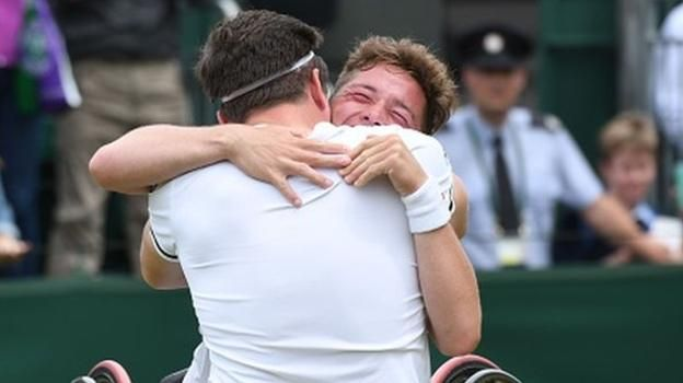 Wimbledon 2017: Gordon Reid and Alfie Hewett retain wheelchair doubles title http://www.bbc.co.uk/sport/tennis/40619467