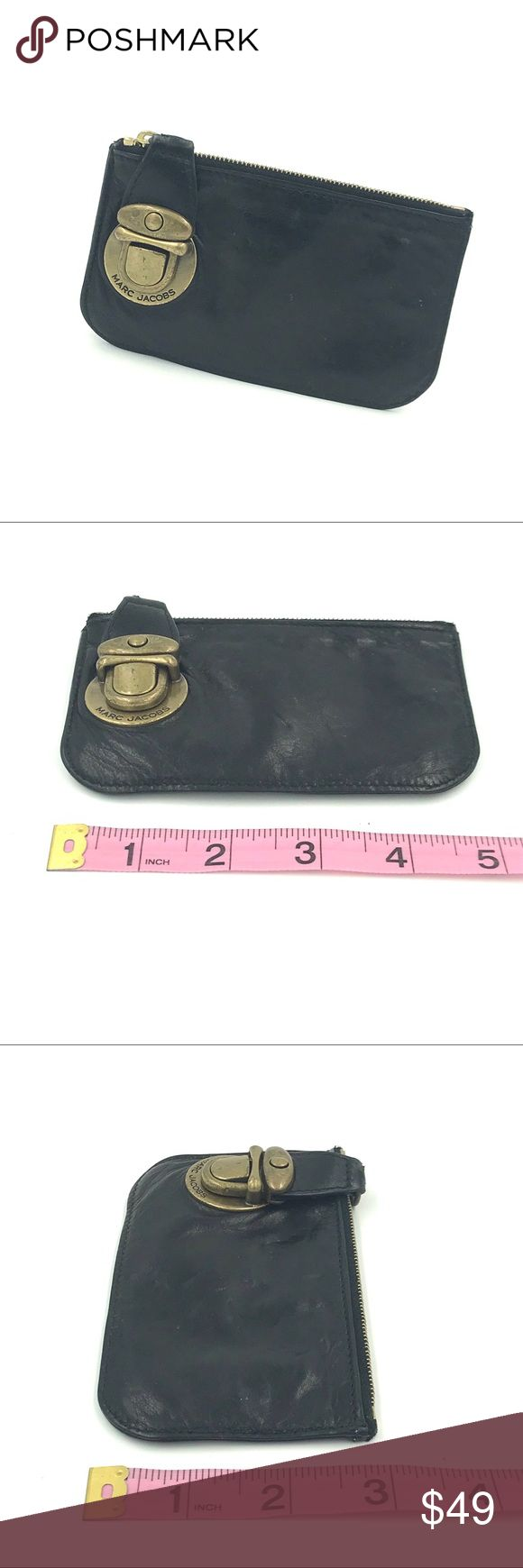 """Marc Jacobs leather card/ID case with key ring Authentic Marc Jacobs flat leather card case. Buttery leather, pink lining with Marc Jacobs logo nameplate inside, push lock and zip top closure, brass hardware. From his early collection. Perfect for a few coins, a few bucks, a few credit cards and your ID! Super cute. Approx 5""""x3"""". Marc Jacobs Bags Wallets"""