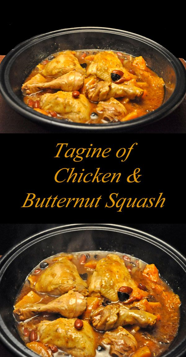 Tagine with Butternut Squash and Chicken. Moroccan spices add warmth for the cold winter. Easily made in a skillet