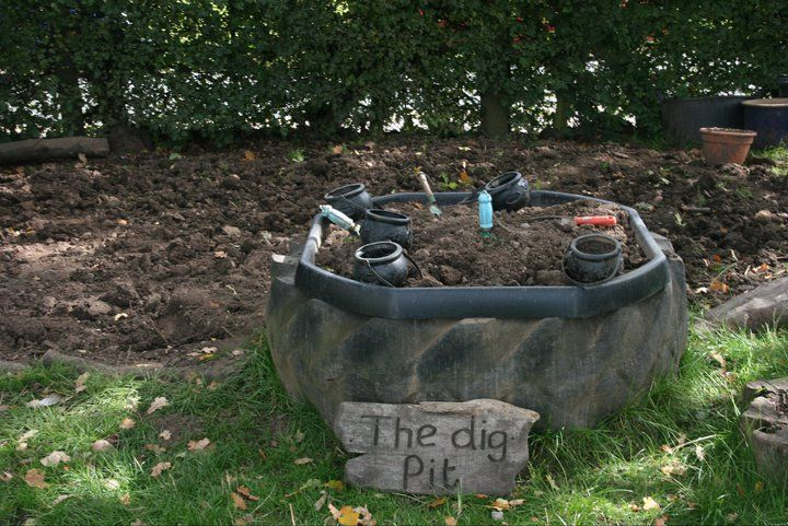 The dig pit - image shared by Early Years Learning. A dedicated area for some serious work to take place!