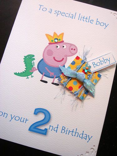 Personalised Handmade Peppa pig George Card