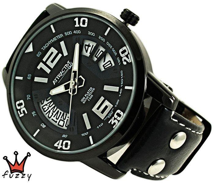 Ανδρικό ρολόι Q&Q, με μηχανισμό MIYOTA, σε μαύρο και λευκό, με ένδειξη ημερομηνίας.  Λουράκι σε μαύρο χρώμα από δερματίνη. Διάμετρος καντράν 44 mm. Στεγανοποίηση 5 BAR (πλύσιμο χεριών).