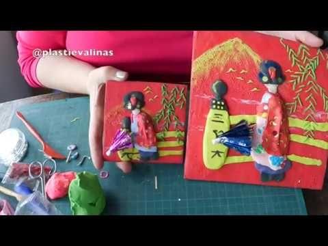 PLASTIEVALINAS: Postal de Geisha * pintando en plastilina* MODELAD...
