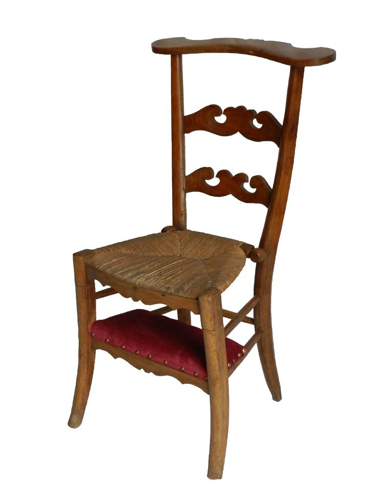 Antique French Prie Dieu Chair with Red Velour Kneeling Pad 1900s