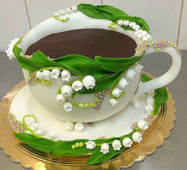 Exquisite Lily of the Valley Cake like a Cup of Hot Chocolate